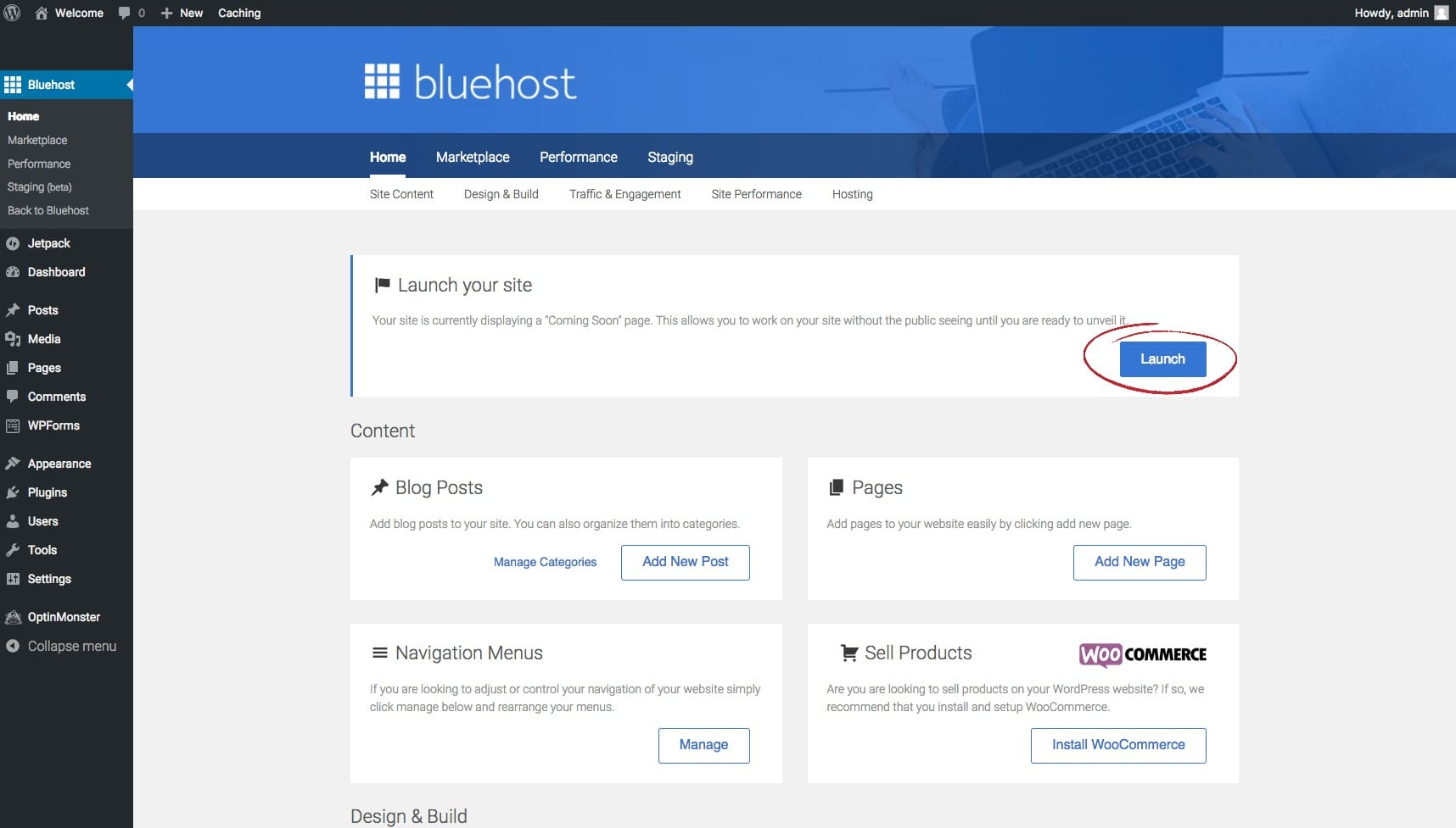launch button bluehost